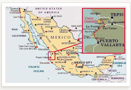 Map And Directions For Mexico Showing Jalisco Nayarit Coastline With Driving From Puerto Vallarta To Our Beautiful Oceanfront Beach